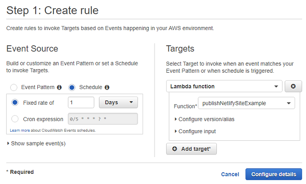 AWS Cloudwatch Create Rule Dialog - Step 1
