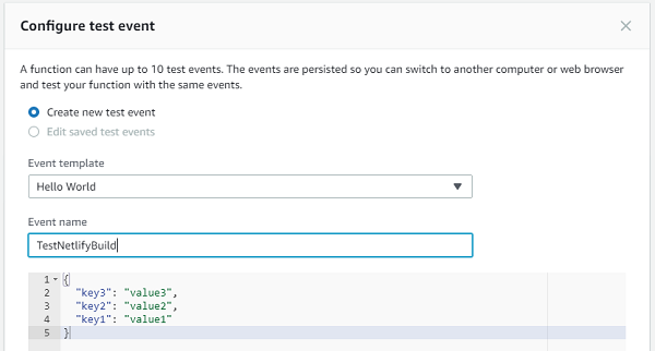 AWS Lambda Test Event Create Dialog