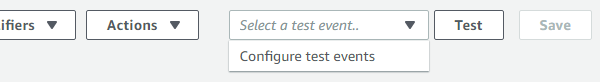AWS Lambda Test Event Dropdown