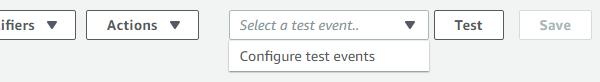 AWS Lambda Test Event Dropdown