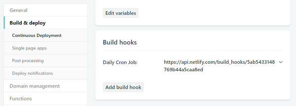 Netlify build hooks list