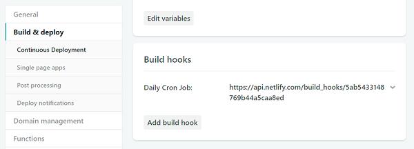 Netlify build hooks list