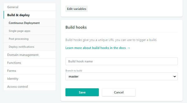 Netlify create build hook dialog