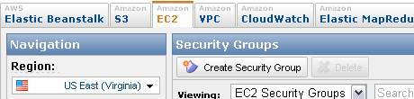Create Security Group button