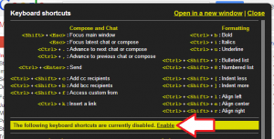 Gmail keyboard shortcuts dialog